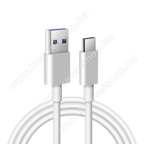 HUAWEI Honor V8Adatatátviteli kábel / USB töltő - USB / USB Type-C, 1m hosszú, 5A (csak a gyári töltővel!) - FEHÉR