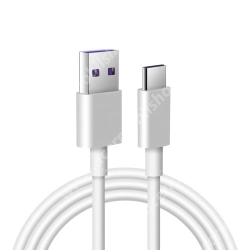 Adatatátviteli kábel / USB töltő - USB / USB Type-C, 1m hosszú, 5A (csak a gyári töltővel!) - FEHÉR