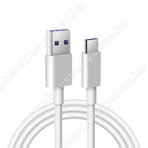 BLACKBERRY Evolve XAdatatátviteli kábel / USB töltő - USB / USB Type-C, 1m hosszú, 5A (csak a gyári töltővel!) - FEHÉR