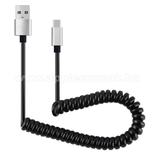Adat�tvitel adatk�bel �s USB t�lt? - spir�l k�bel - USB / Type C, 90cm, USB 2.0 - FEKETE / EZ�ST
