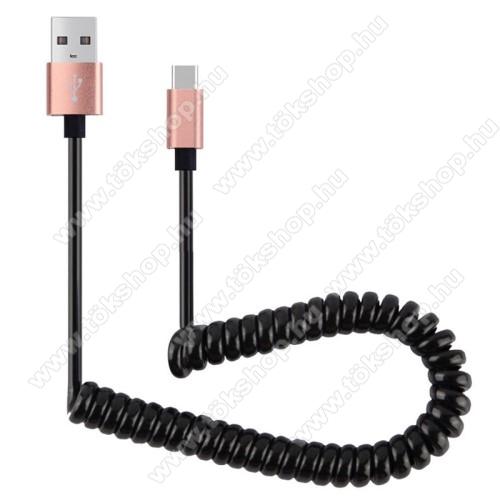 Adatátvitel adatkábel és USB töltő - spirál kábel - USB / Type C, 90cm, USB 2.0 - FEKETE / ROSE GOLD