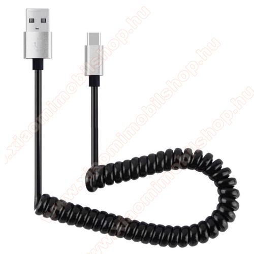 Xiaomi Mi 4cAdatátvitel adatkábel és USB töltő - spirál kábel - USB / Type C, 90cm, USB 2.0 - FEKETE / EZÜST