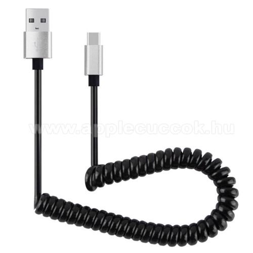 Adatátvitel adatkábel és USB töltő - spirál kábel - USB / Type C, 90cm, USB 2.0 - FEKETE / EZÜST