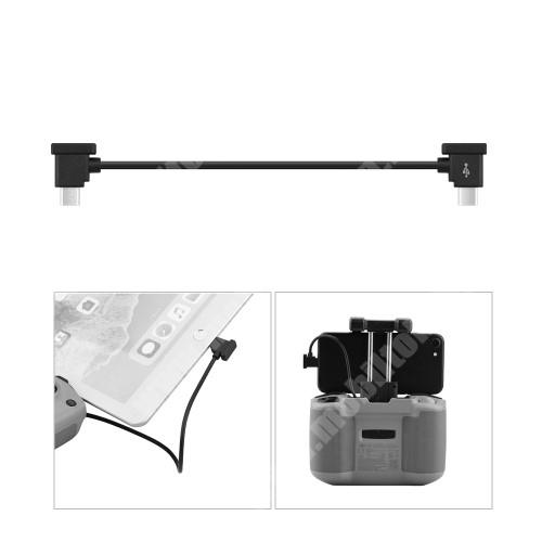 LG G4c (H525N) Adatátvitel adatkábel / USB töltõ - Type-C / microUSB - 15cm hosszú, derékszögű - FEKETE - DJI MAVIC Air 2 / Mini 2 / Pocket 2 / Pocket Drone készülékekhez