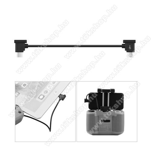 Adatátvitel adatkábel / USB töltõ - Type-C / microUSB - 15cm hosszú, derékszögű - FEKETE - DJI MAVIC Air 2 / Mini 2 / Pocket 2 / Pocket Drone készülékekhez