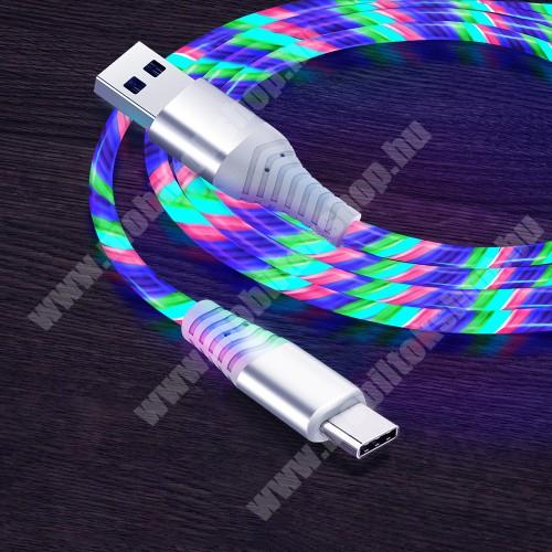 Adatátvitel adatkábel / USB töltő - USB / Type-C csatlakozás, 1m hosszú, 3A, színes LED világítás, törésgátló - SZÍNES