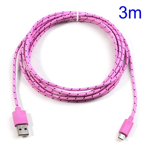 NOKIA 311 Asha Adatátviteli kábel / USB töltő - microUSB 2.0, 3m hosszú - RÓZSASZÍN