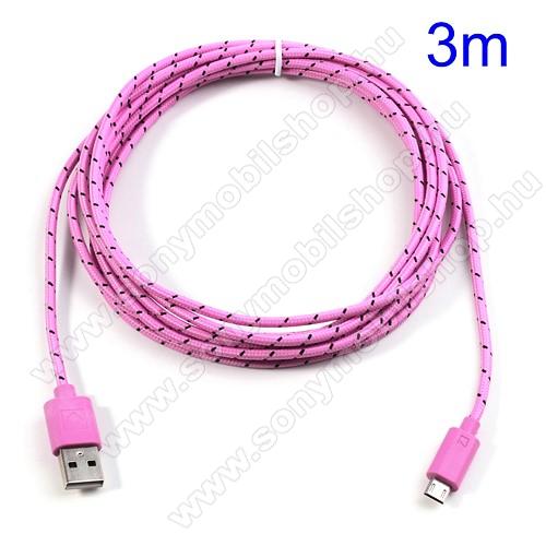 SONY Xperia EAdatátviteli kábel / USB töltő - microUSB 2.0, 3m hosszú - RÓZSASZÍN