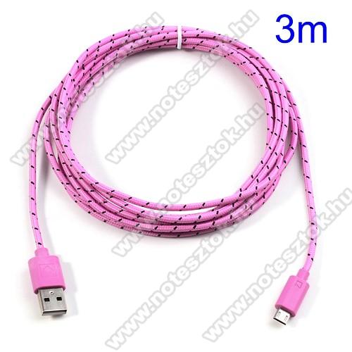 HUAWEI MediaPad T5 10Adatátviteli kábel / USB töltő - microUSB 2.0, 3m hosszú - RÓZSASZÍN