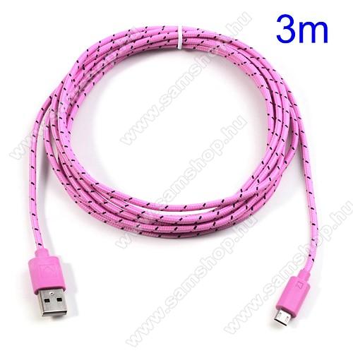SAMSUNG GT-S5630CAdatátviteli kábel / USB töltő - microUSB 2.0, 3m hosszú - RÓZSASZÍN