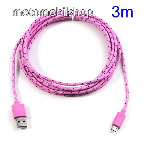 MOTOROLA DROID Ultra Adatátviteli kábel / USB töltő - microUSB 2.0, 3m hosszú - RÓZSASZÍN