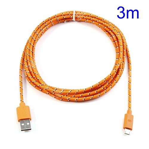 HUAWEI MediaPad T3 8.0 Adatátviteli kábel / USB töltő - microUSB 2.0, 3m hosszú - NARANCS