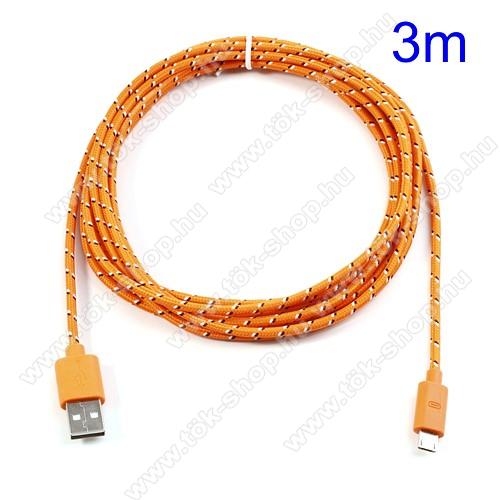 Adatátviteli kábel / USB töltő - microUSB 2.0, 3m hosszú - NARANCS