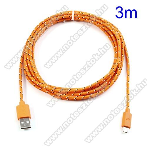 HUAWEI MediaPad T5 10Adatátviteli kábel / USB töltő - microUSB 2.0, 3m hosszú - NARANCS