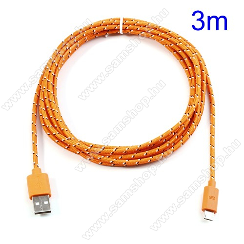 SAMSUNG GT-S5630CAdatátviteli kábel / USB töltő - microUSB 2.0, 3m hosszú - NARANCS