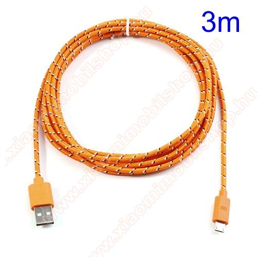 Xiaomi MI-2sAdatátviteli kábel / USB töltő - microUSB 2.0, 3m hosszú - NARANCS