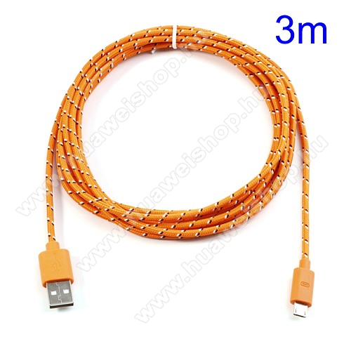 HUAWEI T-Mobile Vairy Text II.Adatátviteli kábel / USB töltő - microUSB 2.0, 3m hosszú - NARANCS