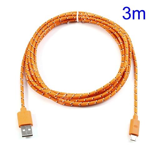 ACER Iconia Tab A3-A20 Adatátviteli kábel / USB töltő - microUSB 2.0, 3m hosszú - NARANCS