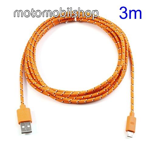 MOTOROLA DROID Ultra Adatátviteli kábel / USB töltő - microUSB 2.0, 3m hosszú - NARANCS
