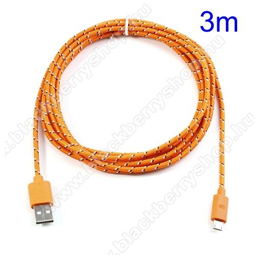 BLACKBERRY 9650 BoldAdatátviteli kábel / USB töltő - microUSB 2.0, 3m hosszú - NARANCS