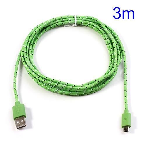 NOKIA 311 Asha Adatátviteli kábel / USB töltő - microUSB 2.0, 3m hosszú - ZÖLD