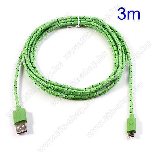 Huawei Enjoy 10Adatátviteli kábel / USB töltő - microUSB 2.0, 3m hosszú - ZÖLD