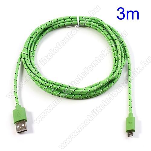 Adatátviteli kábel / USB töltő - microUSB 2.0, 3m hosszú - ZÖLD