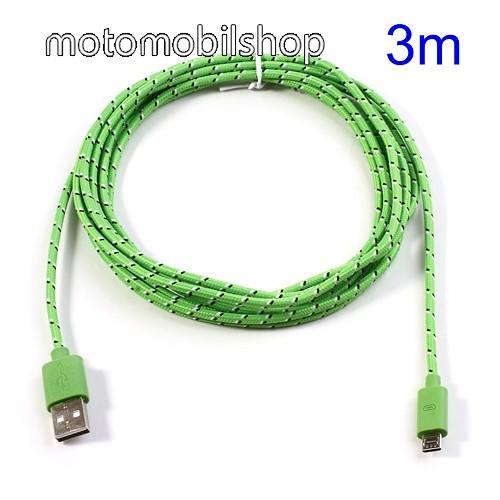 MOTOROLA Moto G 4G (2014) Adatátviteli kábel / USB töltő - microUSB 2.0, 3m hosszú - ZÖLD