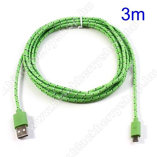 BLACKBERRY 9630 TourAdatátviteli kábel / USB töltő - microUSB 2.0, 3m hosszú - ZÖLD