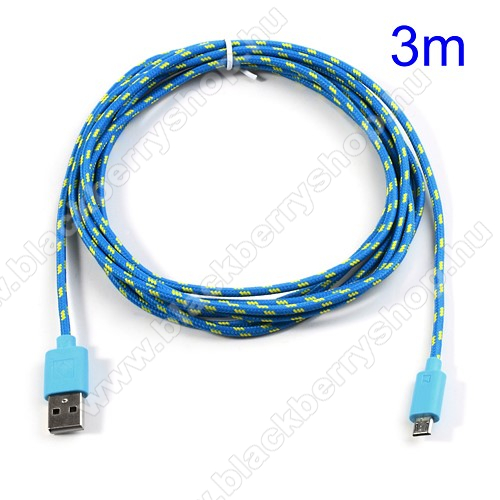 Adatátviteli kábel / USB töltő - microUSB 2.0, 3m hosszú - KÉK