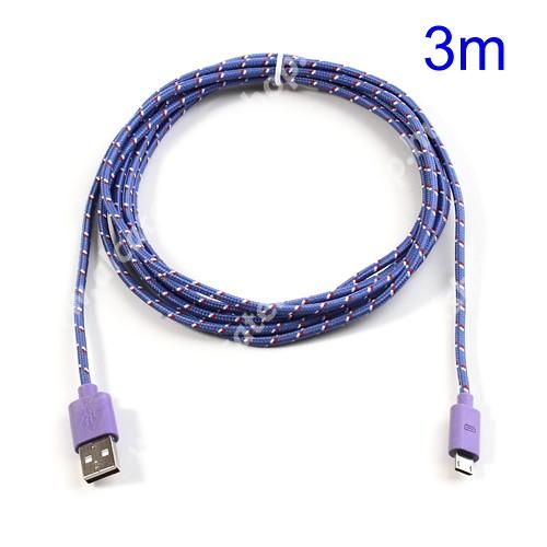 Alcatel OT-810D Adatátviteli kábel / USB töltő - microUSB 2.0, 3m hosszú - LILA