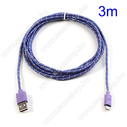 SAMSUNG GT-S5630CAdatátviteli kábel / USB töltő - microUSB 2.0, 3m hosszú - LILA