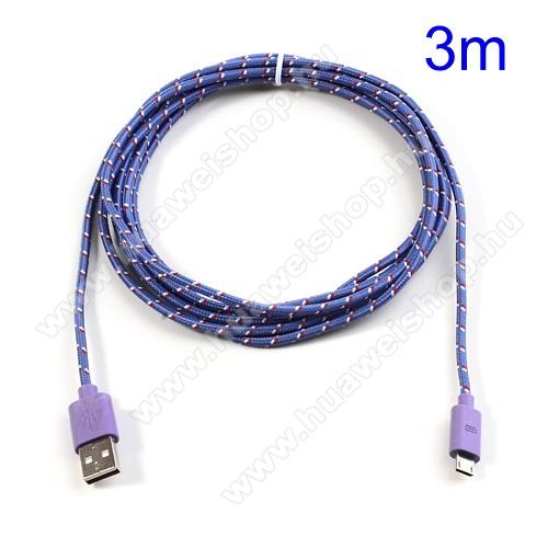 HUAWEI Red Bull Mobile 2Adatátviteli kábel / USB töltő - microUSB 2.0, 3m hosszú - LILA