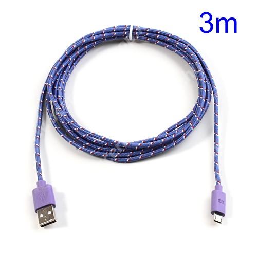 ACER Iconia Tab A3-A20 Adatátviteli kábel / USB töltő - microUSB 2.0, 3m hosszú - LILA