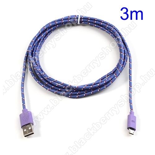 Adatátviteli kábel / USB töltő - microUSB 2.0, 3m hosszú - LILA