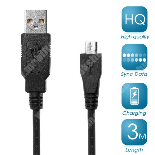 ACER Iconia Tab A110 Adatátviteli kábel / USB töltő - microUSB 2.0, 3m hosszú - FEKETE