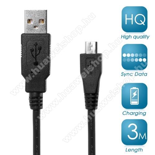 HUAWEI T-Mobile Vairy Text II.Adatátviteli kábel / USB töltő - microUSB 2.0, 3m hosszú - FEKETE