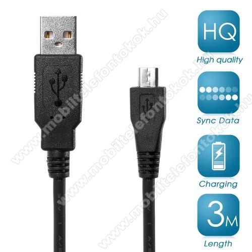 Adatátviteli kábel / USB töltő - microUSB 2.0, 3m hosszú - FEKETE