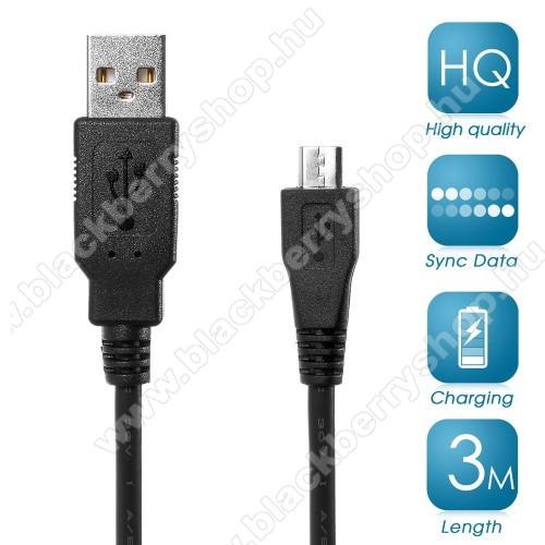 BLACKBERRY 9650 BoldAdatátviteli kábel / USB töltő - microUSB 2.0, 3m hosszú - FEKETE