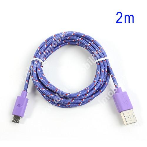 Alcatel OT-810D Adatátviteli kábel / USB töltő - microUSB 2.0, 2m hosszú, 1A - LILA