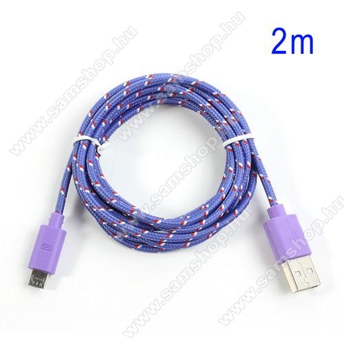 SAMSUNG Galaxy Mega 5.8 (GT-I9150)Adatátviteli kábel / USB töltő - microUSB 2.0, 2m hosszú, 1A - LILA