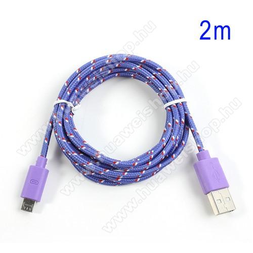 HUAWEI IDEOS S7 SlimAdatátviteli kábel / USB töltő - microUSB 2.0, 2m hosszú, 1A - LILA