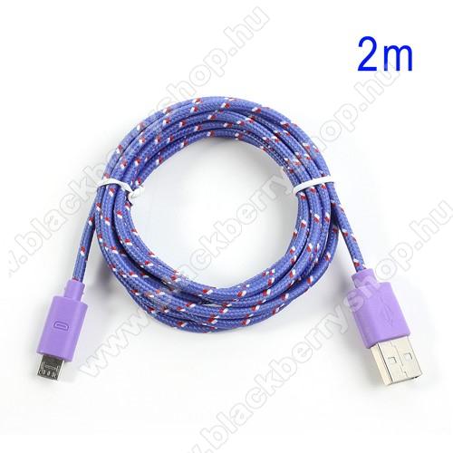BLACKBERRY 9630 TourAdatátviteli kábel / USB töltő - microUSB 2.0, 2m hosszú, 1A - LILA