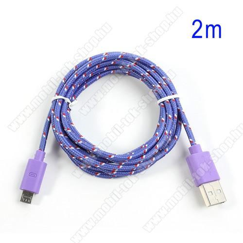 Adatátviteli kábel / USB töltő - microUSB 2.0, 2m hosszú, 1A - LILA