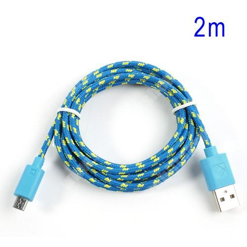 HTC HD 2 Adatátviteli kábel / USB töltő - microUSB 2.0, 2m hosszú, 1A - KÉK