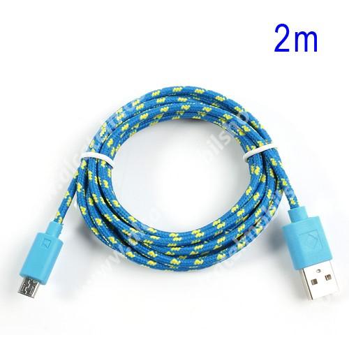 Alcatel OT-810D Adatátviteli kábel / USB töltő - microUSB 2.0, 2m hosszú, 1A - KÉK