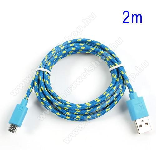 HUAWEI Y6 Prime (2018)Adatátviteli kábel / USB töltő - microUSB 2.0, 2m hosszú, 1A - KÉK