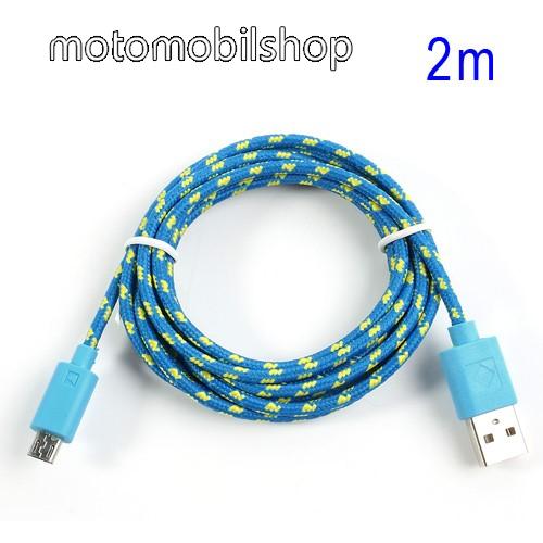 MOTOROLA Moto G3 (XT1540) Adatátviteli kábel / USB töltő - microUSB 2.0, 2m hosszú, 1A - KÉK