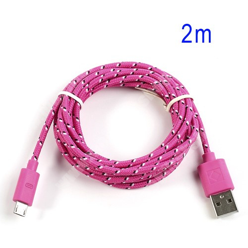 Bluboo D6 Adatátviteli kábel / USB töltő - microUSB 2.0, 2m hosszú, 1A - RÓZSASZÍN