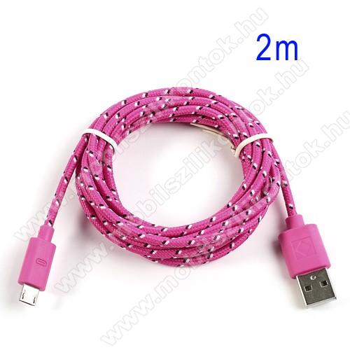 Adatátviteli kábel / USB töltő - microUSB 2.0, 2m hosszú, 1A - RÓZSASZÍN